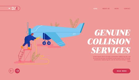 Plane Inspection and Fueling before Flight Website Landing Page. Mechanic Pouring Fuel into Airplane Gas Tank. Maintenance of Aircraft with Propeller Web Page Banner. Cartoon Flat Vector Illustration 向量圖像