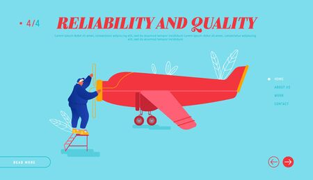 Repair and Maintenance of Aircraft Website Landing Page. Engineer Inspecting Airplane Engine Rolling Propeller. Private Plane Inspection before Flight Web Page Banner. Cartoon Flat Vector Illustration 向量圖像