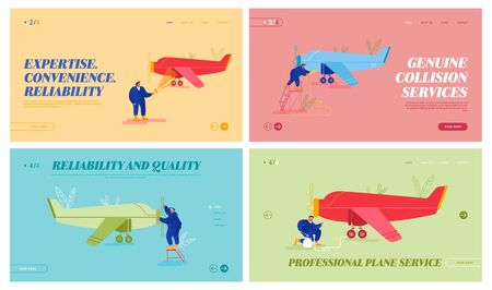 Aircraft Maintenance and Repair Website Landing Page Set. Mechanics Engineers Inspecting Private Airplane with Propeller Engine Pumping Wheels Fueling Web Page Banner. Cartoon Flat Vector Illustration