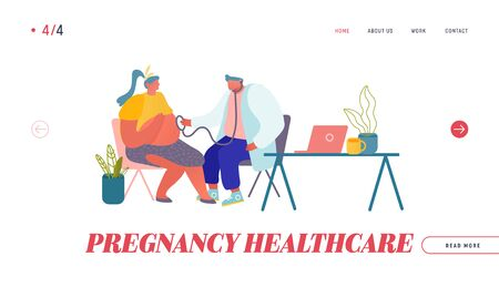 Pregnancy Check Up, Maternity Website Landing Page. Pregnant Woman at Doctor Appointment in Clinic. Medic Listening Baby Heart Beating with Stethoscope Web Page Banner Cartoon Flat Vector Illustration