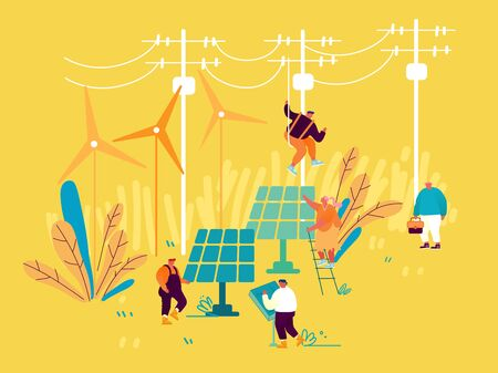 Sustainable Energy Development, Environmental and Ecology Protection Concept. New Technologies Integration into Human Life. Solar Panels and Windmills for Green Energy Cartoon Flat Vector Illustration