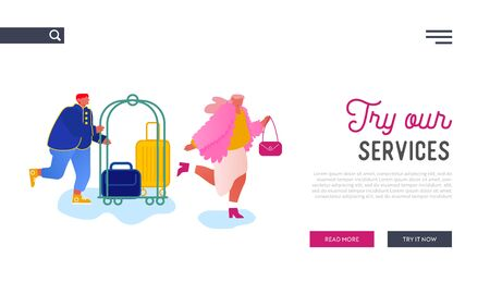 Hospitality Website Landing Page. Hotel Staff Meeting Guest Carrying Luggage by Cart. Businesswoman Stay in Guesthouse for Vacation or Business Trip Web Page Banner. Cartoon Flat Vector Illustration