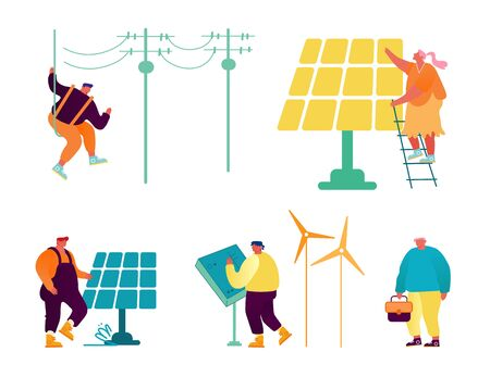 Eco-friendly and Traditional Technologies Set Isolated on White Background. People Using Equipment for Energy Producing, Solar Panels, Windmills and Electric Poles Cartoon Flat Vector Illustration