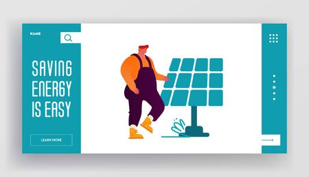 Renewable Green Energy Website Landing Page. Man in Working Overalls Stand at Solar Panel. People Using Power of Sun for Clean Electricity Development Web Page Banner. Cartoon Flat Vector Illustration