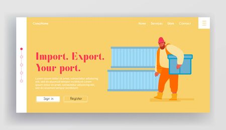 Shipping Port Import Export Business Website Landing Page. Marine Dock Worker Carry Container to Loading Cargo for Transportation. Maritime Logistic Web Page Banner. Cartoon Flat Vector Illustration Banque d'images - 133815311