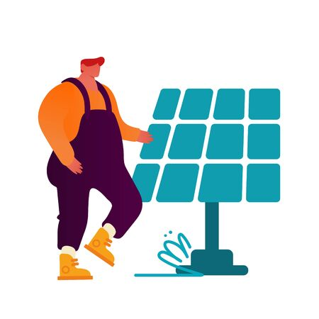 Renewable Green Energy Concept. Man in Working Overalls Stand at Solar Panel Isolated on White Background. People Using Power of Sun for Clean Electricity Development. Cartoon Flat Vector Illustration Ilustracja