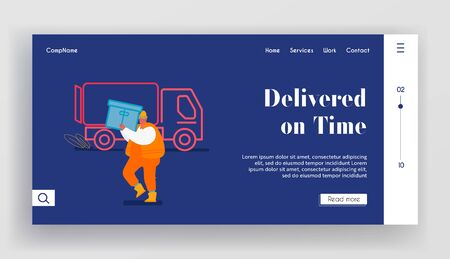 Maritime Logistic Website Landing Page. Shipping Port Man Loading Containers to Freight Truck. Seaport Worker Carry Box to Lorry in Dock Cargo Shipping Web Page Banner Cartoon Flat Vector Illustration Ilustracja