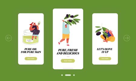People Use Olive Oil for Eating and Cosmetics Mobile App Page Onboard Screen Set. Tiny Characters Holding Ripe Olive Branches Eco Food Concept for Website or Web Page, Cartoon Flat Vector Illustration