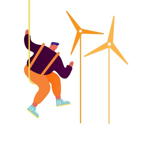 Worker Doing Maintenance of Windmills Isolated on White Background. Green City Wind Turbines, Eco-friendly Electricity, Environment Protection, Ecological Technologies Cartoon Flat Vector Illustration