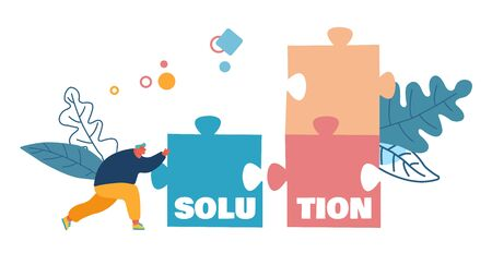 Business Task Solution, Compromise and Problem Solving Concept. Man Pushing Huge Puzzle Piece to Assemble Jigsaw Construction. Creativity Poster Banner Flyer Brochure. Cartoon Flat Vector Illustration Illustration