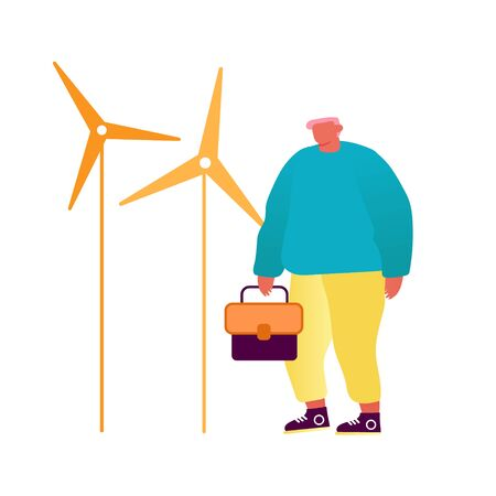 Green City Wind Turbines, Clean Nature Ecology Environment Concept. Man Operator or Engineer with Tool Box in Hands Doing Maintenance of Eco Friendly Energy Equipment. Cartoon Flat Vector Illustration