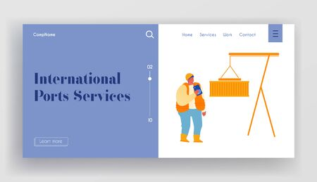 Freight Forwarder Working on Container Terminal Harbour Website Landing Page. Worker Engineer with Walkie Talkie Control Loading Containers at Port Web Page Banner. Cartoon Flat Vector Illustration