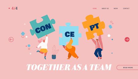 Teamwork Cooperation Concept Website Landing Page. People Assembling Separated Puzzle Construction, Searching Idea and Creative Solution of Problem Web Page Banner. Cartoon Flat Vector Illustration Illustration