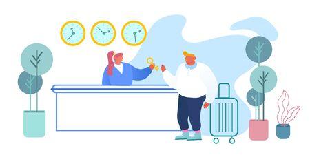 Recepcionista de pie detrás del mostrador del vestíbulo para dar la llave de la habitación al hombre de negocios en el vestíbulo de recepción del hotel Mujer Gerente Trabajo en Motel. Turismo, viaje de negocios, servicio de posada, caricatura, plano, vector, ilustración