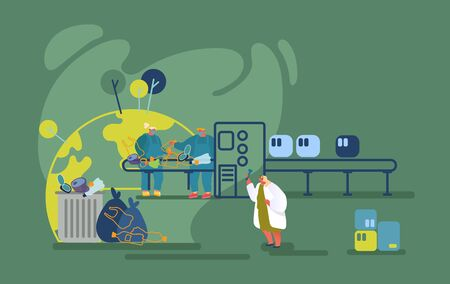 Wastes Recycling Technological Process. Workers in Robe Select and Sort Different Litter at Factory Conveyor Belt. Woman Scientist Looking in Glass Tube Testing Water. Cartoon Flat Vector Illustration