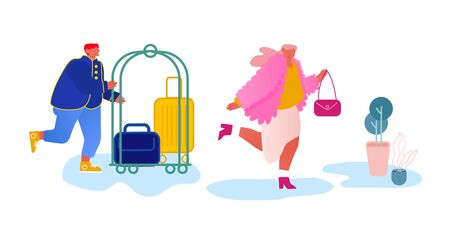 Hotel Staff Meeting Guest in Hall Carrying Luggage by Cart. Businesswoman Stay in Guesthouse for Vacation or Business Trip. Hospitality Appointment, Room Reservation. Cartoon Flat Vector Illustration