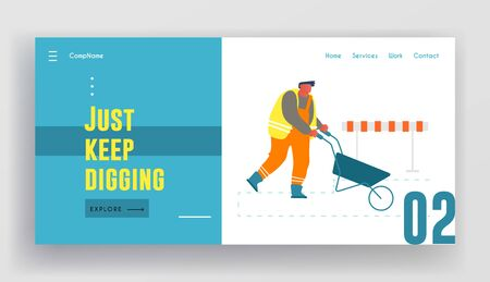 Builder Pushing Wheelbarrow Working on Construction Site or Road Repair Website Landing Page. Laborer Using Manual Cart for Removing Soil and Sand Web Page Banner. Cartoon Flat Vector Illustration