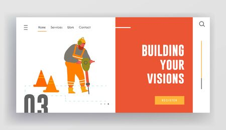 Highway Maintenance Website Landing Page. Builder with Jackhammer Breaking Asphalt at Road Construction Site with Warning Cones Remove Old Pavement Web Page Banner. Cartoon Flat Vector Illustration