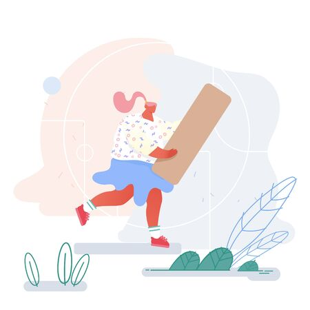 Young Woman Carry Huge Wooden Block Piece for Playing Board Game or Set Up Puzzle. Leisure, Recreation and Spare Time Concept. Indoors or Outdoors Activity and Fun Cartoon Flat Vector Illustration