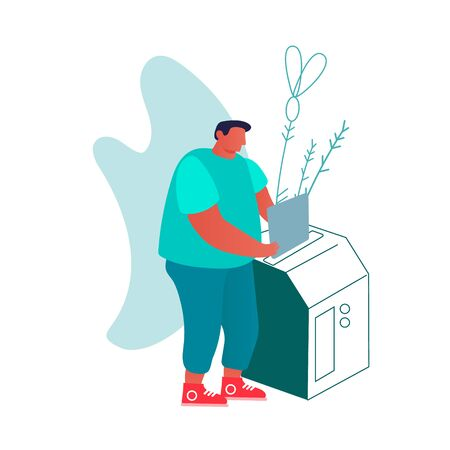 Man Put Paper Document to Copy Machine or Shredder. Typography or Printing House Working Process Concept. Male Character Use Equipment at Polygraphy Office or Studio. Cartoon Flat Vector Illustration