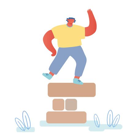 Happy Man Dancing on Top of Tower Made of Wooden Pieces. Winner in Strategic Board Game Celebrate Victory. Male Character Assemble Puzzle in Team Competition Challenge Cartoon Flat Vector Illustration Illustration