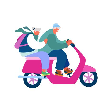 Adorable Couple of Cheerful Seniors Riding Motorbike, Man and Woman Pensioner Active Lifestyle, Aged People Extreme Activity, Senior Character Driving Fast on Scooter Cartoon Flat Vector Illustration Illustration