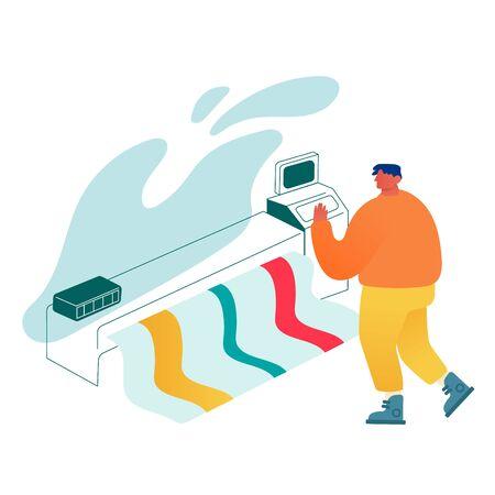 Designer Using Widescreen Offset Printing Machine, Man Print Banner on Multifunction Laser Printer. Creative Team Working Process in Typography or Advertising Agency. Cartoon Flat Vector Illustration