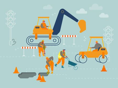 Road Repair with Construction Roller Machine, Excavator Dig Hole in Ground, Builders Remove Soil with Shovel and Wheelbarrow. Bagger Excavating Work on Foundation Cartoon Flat Vector Illustration Illustration