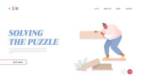 Man Assemble Puzzle Website Landing Page. Male Character Playing Intellectual Strategic Board Game Put Wooden Block Pieces on Each Other to Build Tower Web Page Banner Cartoon Flat Vector Illustration