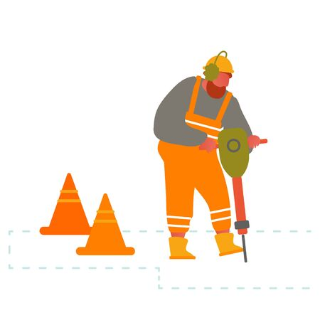 Builder with Pneumatic Jackhammer Drill Equipment Breaking Asphalt at Road Construction Site Fenced with Warning Cones. Highway Maintenance, Worker Remove Old Pavement Cartoon Flat Vector Illustration