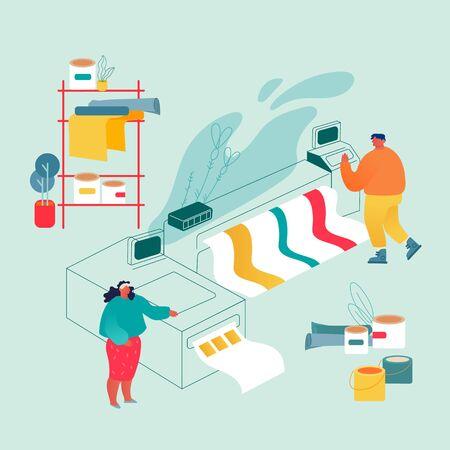 Tipografia o centro servizi di stampa con uomo e donna che lavorano con stampante a getto d'inchiostro offset widescreen. Apparecchiature elettroniche per poligrafia industriale. Illustrazione piana di vettore del fumetto dell'agenzia di pubblicità