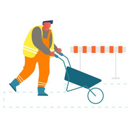 Builder poussant la brouette travaillant sur le chantier de construction ou la réparation des routes. Ouvrier portant un uniforme orange et un gilet à l'aide d'un chariot manuel pour enlever le sol, le sable et le matériel Illustration vectorielle plane de dessin animé Vecteurs