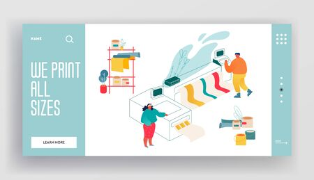 Printshop or Printing House Service Center Website Landing Page. Man and Woman Working with Widescreen Offset Inkjet Printer. Industrial Polygraphy Web Page Banner. Cartoon Flat Vector Illustration