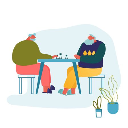 Relaxing Senior Men Playing Chess in Nursing Home. Couple of Cheerful Pensioners Spending Time Together at Intellectual Game, Retired People Leisure and Sparetime. Cartoon Flat Vector Illustration