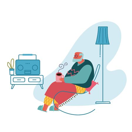 Senior Grey Haired Man in Glasses Sitting in Armchair Drinking Tea and Listening Music on Radio. Aged Male Character Sparetime, Leisure and Hobby in Nursing Home. Cartoon Flat Vector Illustration