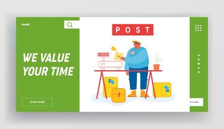 Post Office Website Landing Page. Worker in Warehouse Put Carton Parcel Box on Scales for Weigh. Storehouse and Storage Service. Goods Distribution Web Page Banner. Cartoon Flat Vector Illustration Vettoriali