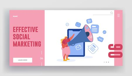 Effective Social Marketing Website Landing Page. Woman Stand at Huge Smartphone Shouting to Megaphone. Pr Social Media Promotion, Advertising Campaign Web Page Banner. Cartoon Flat Vector Illustration