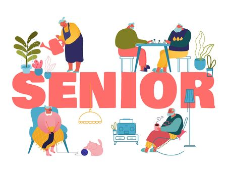 Old People Hobby and Leisure Fun Concept. Male and Female Seniors Spending Time in Nursing Home Listening Music, Playing Chess, Knitting Poster Banner Flyer Brochure. Cartoon Flat Vector Illustration Ilustrace