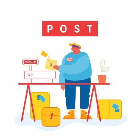 Worker in Warehouse Put Carton Parcel Box on Scales for Weigh. Storehouse and Storage Logistics, Delivery Transportation Service. Freight and Goods Distribution. Cartoon Flat Vector Illustration