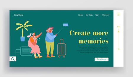 Mature Tourists Trip Website Landing Page. Aged Female Couple Making Selfie in Exotic Country Traveling. Cheerful Elderly Women with Baggage in Tour Web Page Banner. Cartoon Flat Vector Illustration