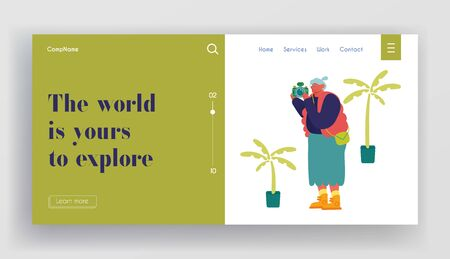 Senior Tourist Making Pictures on Photo Camera in Exotic Country Website Landing Page. Old Woman Traveling Excursion in Foreign Journey. Travel Agency Web Page Banner. Cartoon Flat Vector Illustration