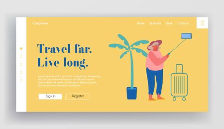 Old Woman Making Selfie on Smartphone Website Landing Page. Elderly Lady Saving Sweet Life Moments in Foreign Travel. Senior Tourist Traveling Abroad Web Page Banner. Cartoon Flat Vector Illustration 向量圖像