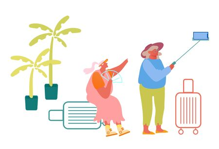 Aged Female Couple Making Selfie in Exotic Country Traveling with Luggage. Cheerful Elderly Women with Baggage in Voyage Tour, Mature Tourists Having Fun Trip Together Cartoon Flat Vector Illustration