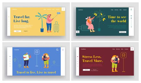 Senior People Traveling Activity Website Landing Page Set. Aged Male and Female Characters Outdoor Vacation, Foreign Travel and Adventure Voyage Web Page Banner. Cartoon Flat Vector Illustration Иллюстрация