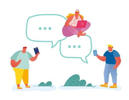 Young People Characters Using Mobile Devices, Smartphones for Chatting in Social Networks, Communicating Online Sending Media Files to Friends via Internet Application Cartoon Flat Vector Illustration