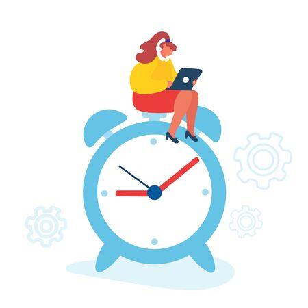 Business Working Process Concept. Businesswoman Sitting on Huge Alarm Clock with Laptop in Hand. Time Management Procrastination Multitasking Productivity Infographics Cartoon Flat Vector Illustration Illustration