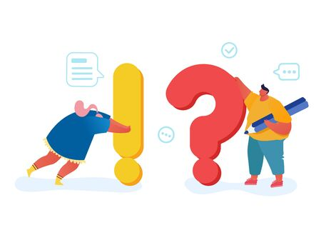 People Searching and Giving Information Concept, Tiny Characters Looking for Solution to Urgent Issues around Huge Exclamation and Question Marks. Faq Tips, Teamwork Cartoon Flat Vector Illustration