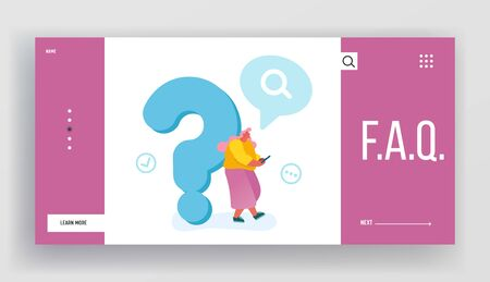 Frequently Asked Questions, Faq Website Landing Page. Young Woman Leaning on Huge Question Mark Searching Information in Internet Using Smartphone Web Page Banner. Cartoon Flat Vector Illustration