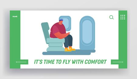 People Traveling by Airplane Website Landing Page. Young Man Sitting in Comfortable Seat near Emergency Exit. Male Passenger at Plane Board, Airline Web Page Banner. Cartoon Flat Vector Illustration