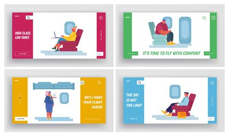 Airplane Crew and Passenger Characters in Plane Website Landing Page Set. Stewardess Give Drink to People Sitting on Aircraft Chairs, Airline Service Web Page Banner. Cartoon Flat Vector Illustration